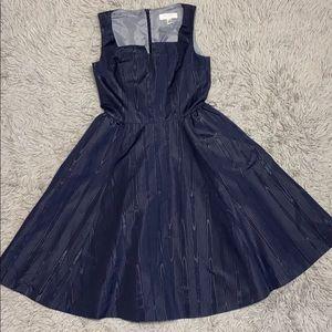 Isaac Mizrahi Taffeta Navy Couture Formal Dress 6